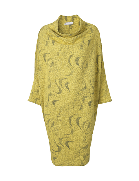 Jacquard dress in yellow by Johanne Rubinstein