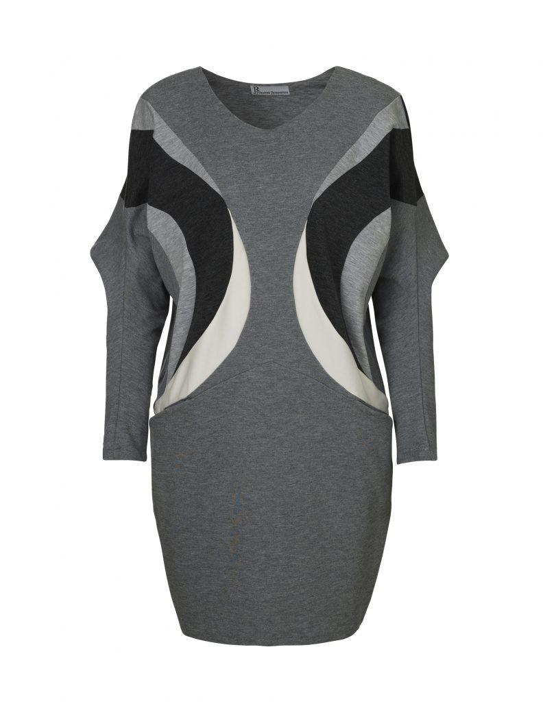 pocket kjole i grå, sort og hvid af Johanne Rubinstein