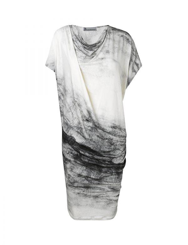Anja dress with grey white cracks by Johanne Rubinstein